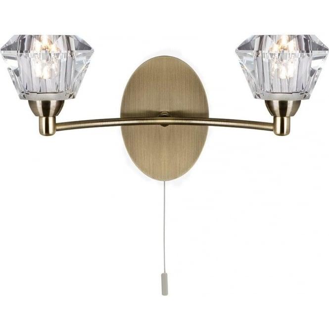 Sierra Antique Brass 2 Light Wall Bracket Sculptured Glass Shades