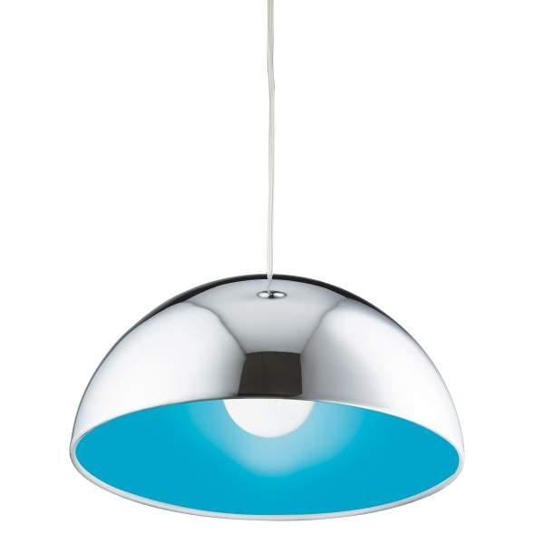 CHROME PENDANT LIGHT BLUE