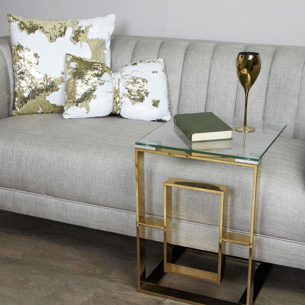 Lauren Gold Metal Sofa Table