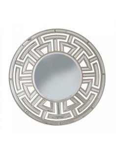 Aztec Art Deco Champagne Round Wall Mirror