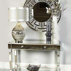 Apollo Silver Trim 2 Drawer Mirror Console Table