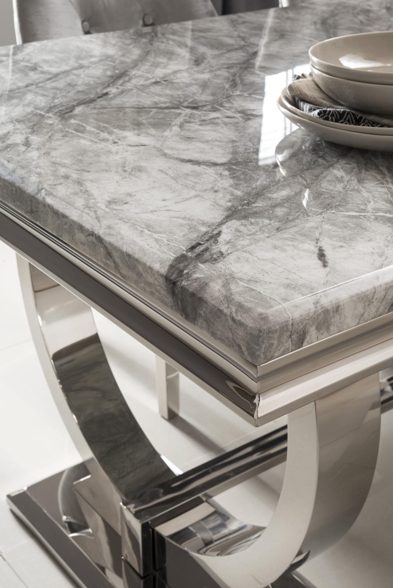 Ariana Grey marble table with chrome legs 200cm 3