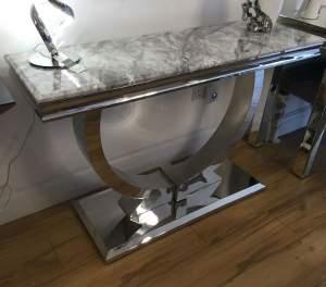 Arianna Marble Chrome Base Grey Console Table