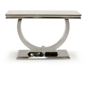 Arianna Marble Chrome Cream Base Hall Console Table