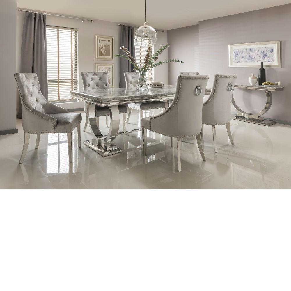 Ariana Grey marble table with chrome legs 200cm