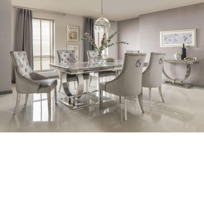 Arianna Grey marble table inc four chairs with chrome legs 200cm