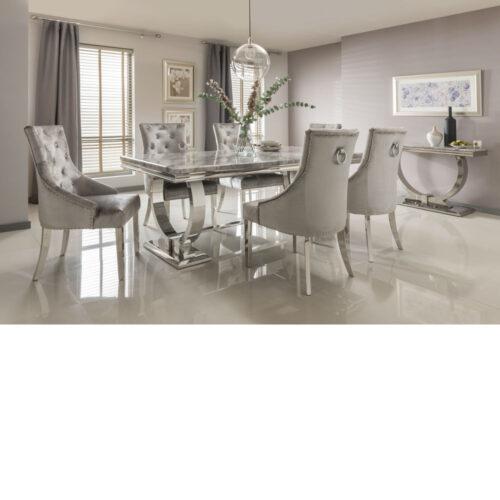 Arianna Grey marble table inc four chairs with chrome legs 180cm