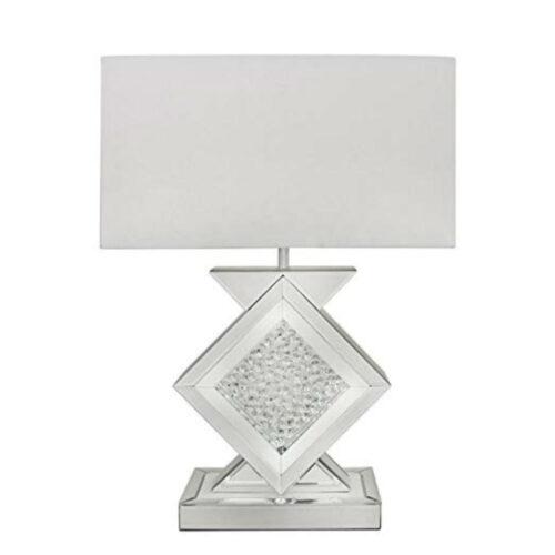 Floating Crystal White Mirror Diamond Shape Table Lamp