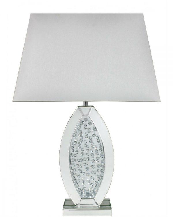 Astoria White Mirror Small Oval Table Lamp