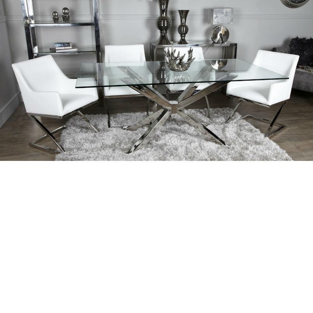 70da20dbacfc Avery Glass White Dining Table Inc 4 Chairs