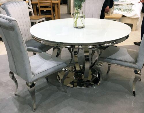 Athena Round Glass Table plus four velvet chairs