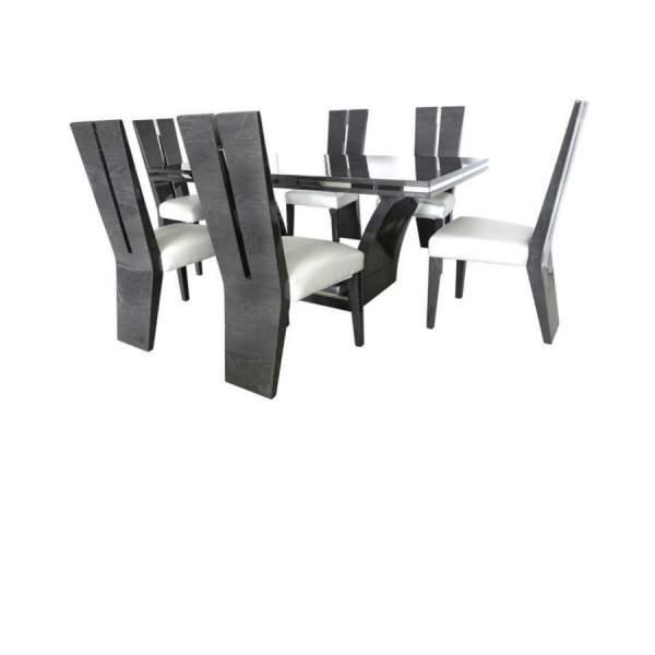 Ava Grey High Gloss Table 180cm Inc 6 Chairs