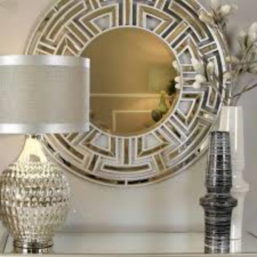 Aztec Art Deco Champagne Round Wall Mirrornicholas John Interiors