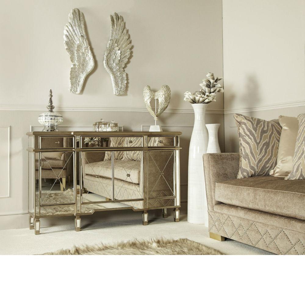 Grace Gold 3 Drawer 4 Door Mirror Cabinet