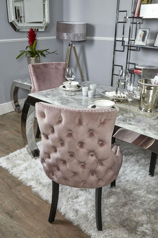 Tufted Velvet Fabric Studded Back Dining Chair Pair