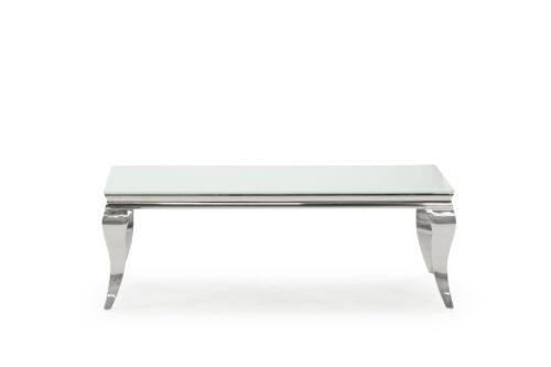 Carla Large Glass Chrome White Coffee Table 130cm