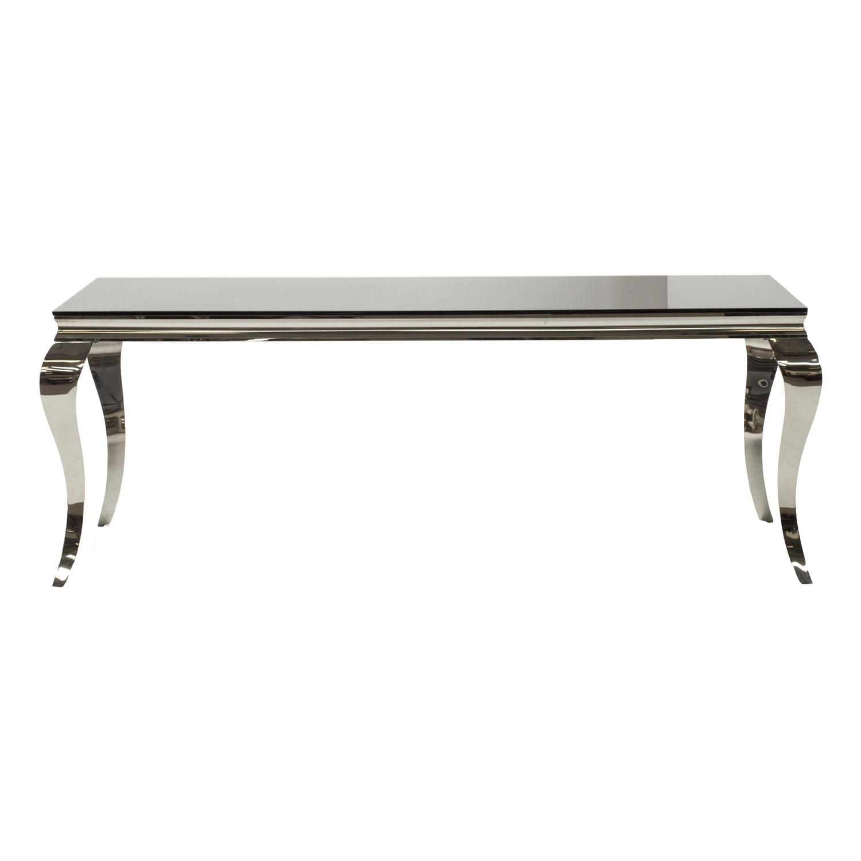 Carla Contemporary Glass Chrome Black Dining Table 200cm