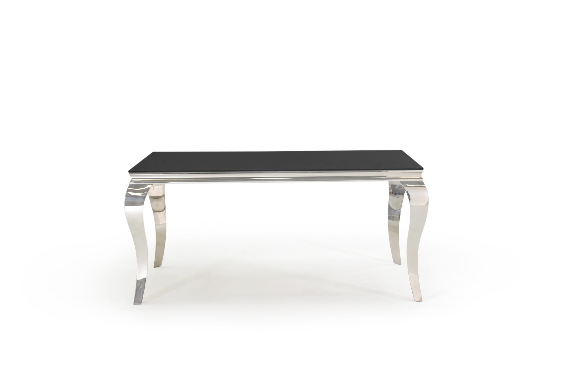 Carla Contemporary Glass Chrome Black Dining Table 160cm
