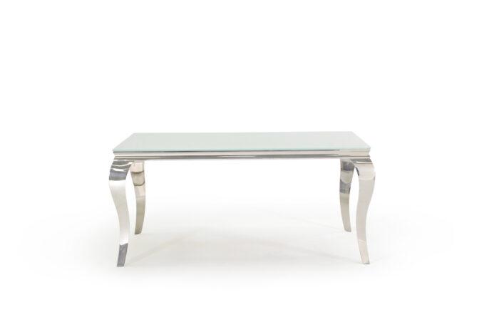 Carla Contemporary Chrome Glass White Dining Table 160cm