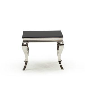 Carla Glass Chrome Black End Lamp Table