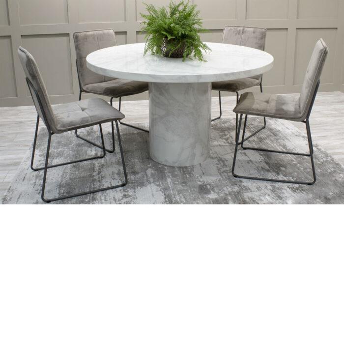 Carra Bone White Marble Round Dining Table - 1300 Inc Soren Mink Chairs