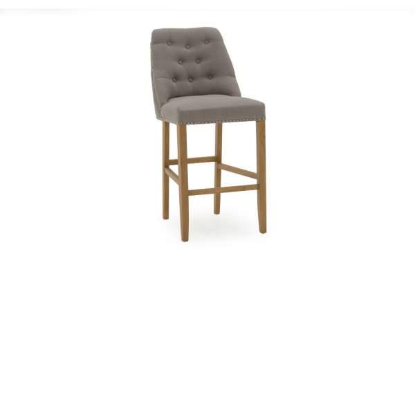 Eldridge Classic Oak Leg Bar Chair Stool Linen Fabric Beige
