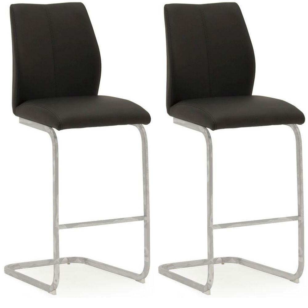 Elis Black Bar Chair Chrome Leg - Pair