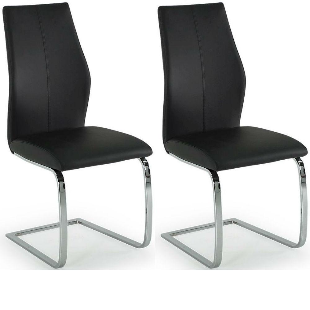 Elis Black Dining Chair Chrome Leg - Pair