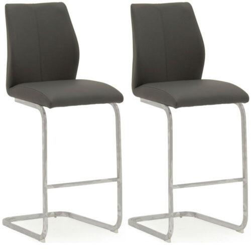 Elis Grey Bar Chair Chrome Leg - Pair