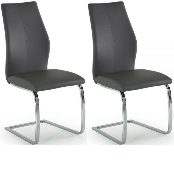 Elis Grey Dining Chair Chrome Leg - Pair