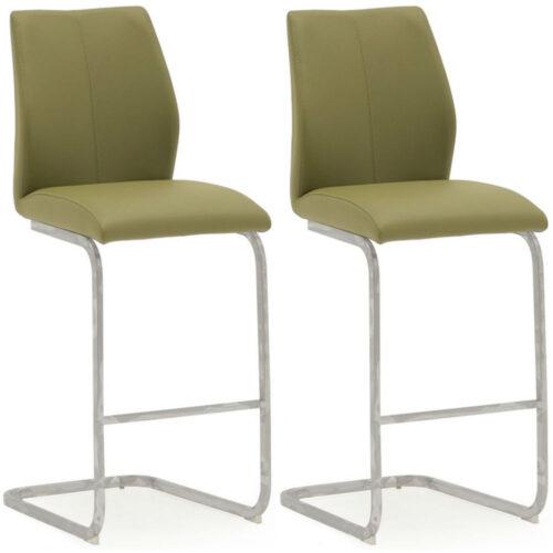 Elis Olive Bar Chair Chrome Leg
