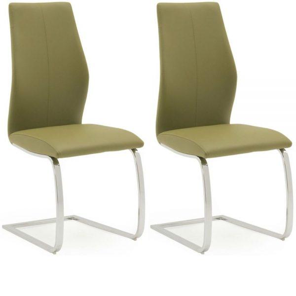 Elis Olive Dining Chair Chrome Leg - Pair