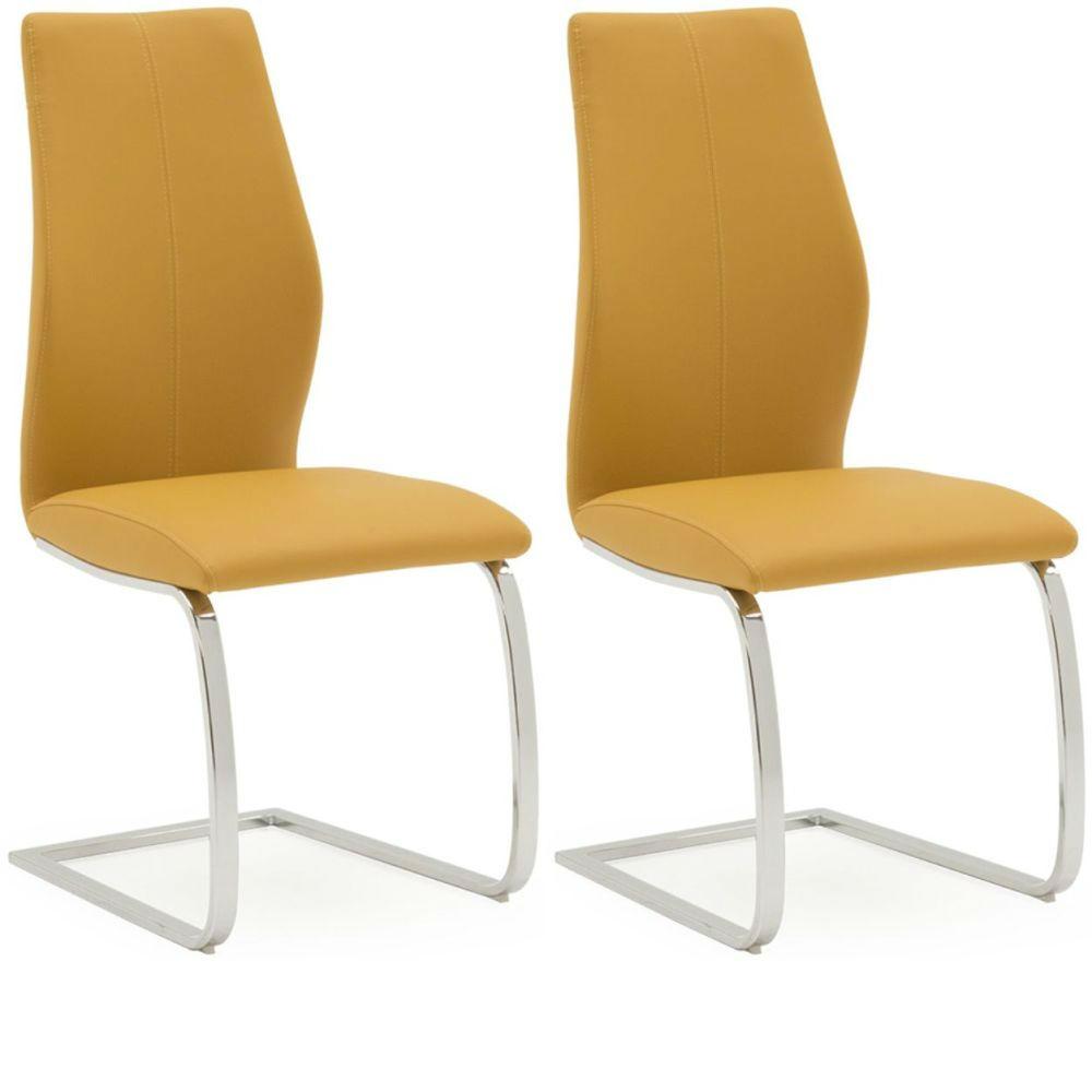 Elis Pumpkin Dining Chair Chrome Leg - Pair