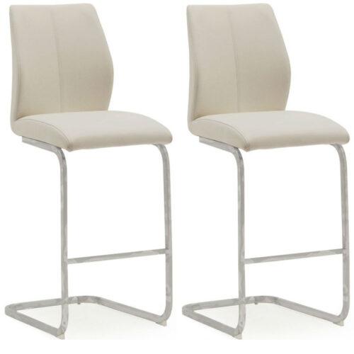 Elis Taupe Bar Chair Chrome Leg - Pair