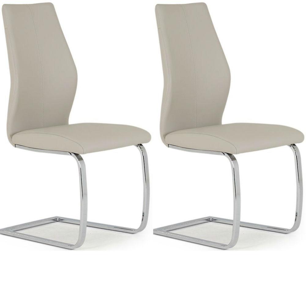Elis Taupe Dining Chair Chrome Leg - Pair