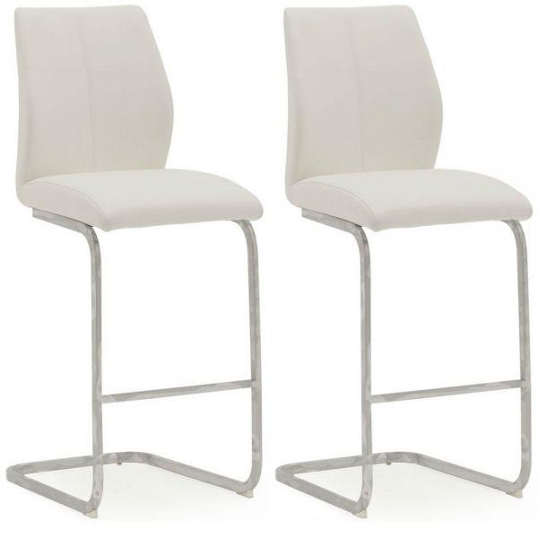Elis White Bar Chair Chrome Leg - Pair