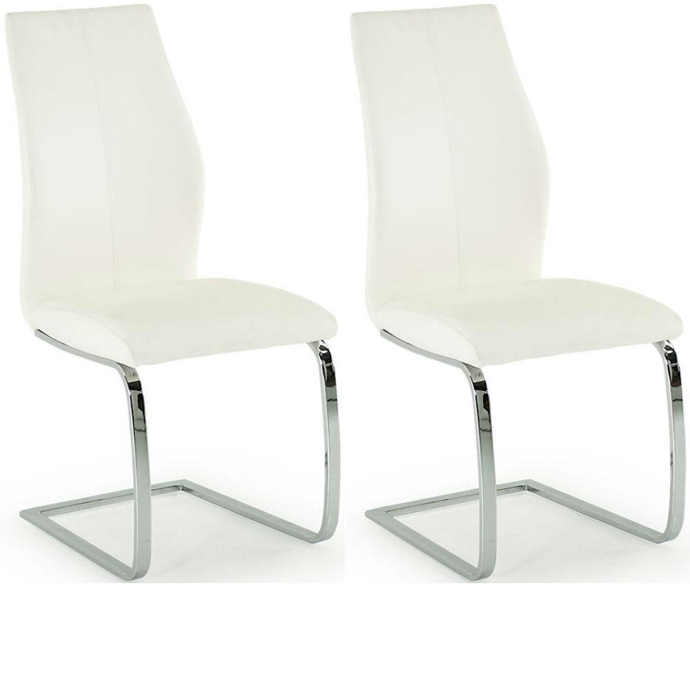 Elis White Dining Chair Chrome Leg - Pair