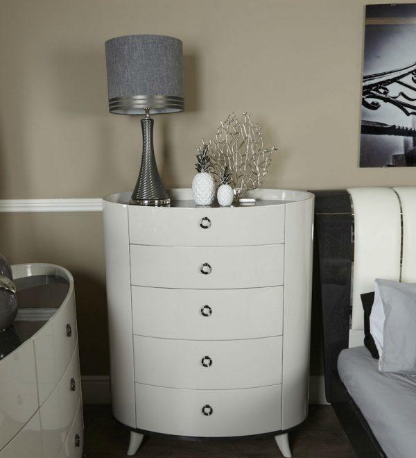 Ava Light Dove Grey 5 Drawer Cabinet