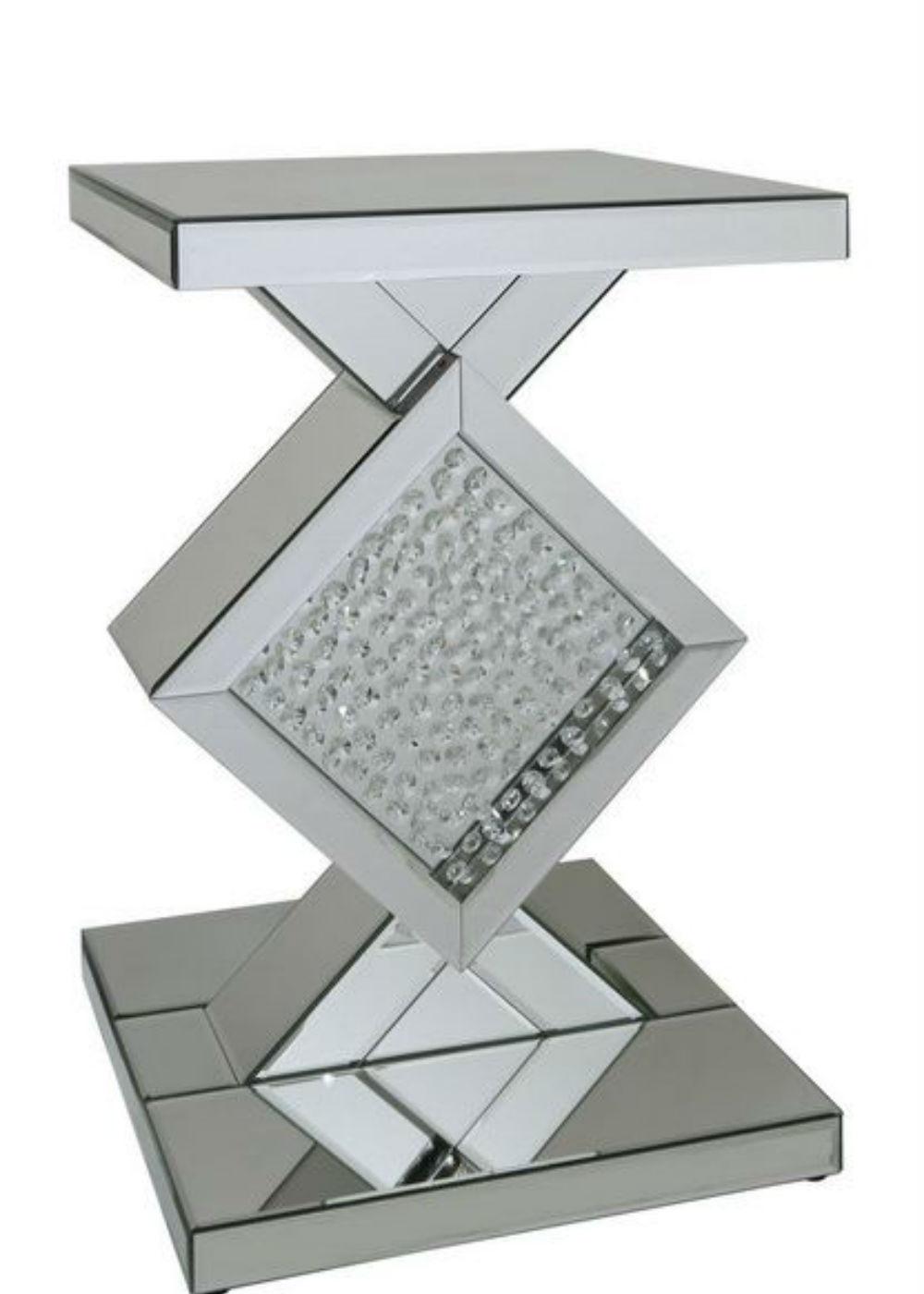 Floating Crystal Mirror Diamond End Table