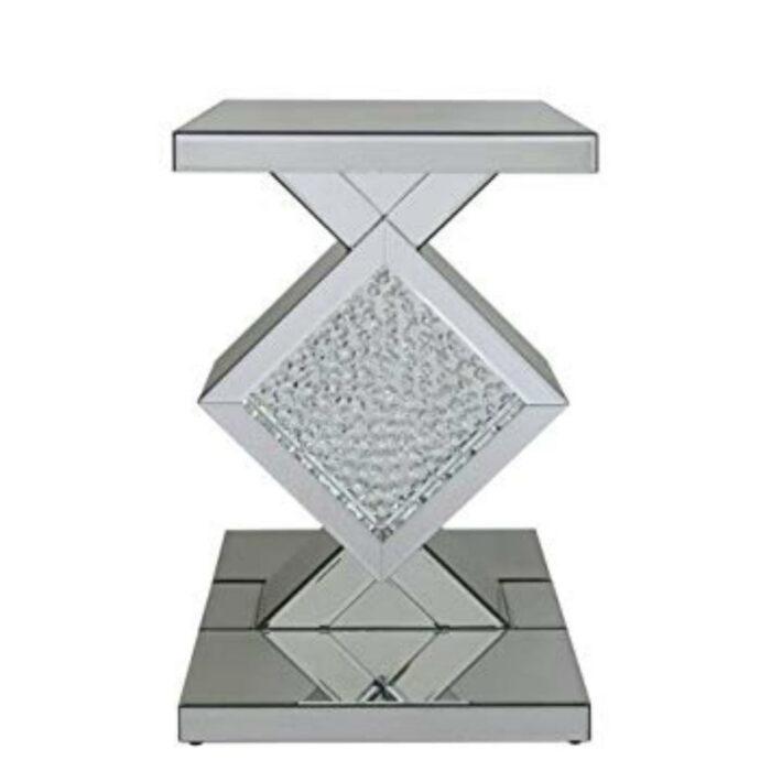Floating Crystal White Mirror Diamond End Table