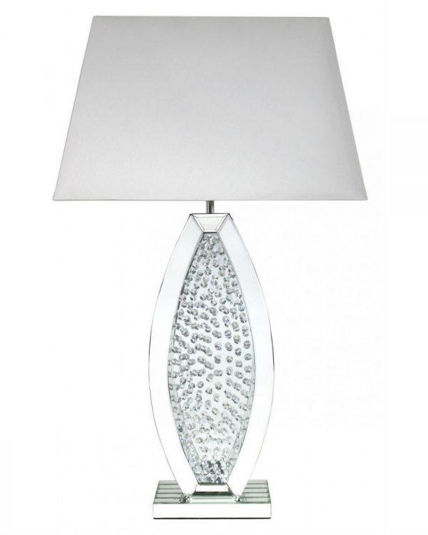 Floating Crystal White Mirror Medium Oval Table Lamp