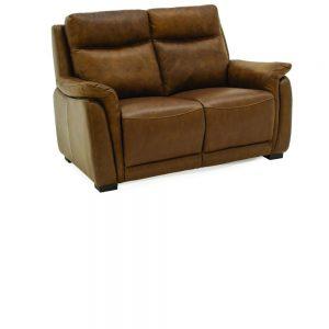 Francesco Leather Tan Brown Fixed 2 Seater Sofa