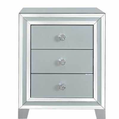 Harper Grey Glass Mirrored 3 Drawer Bedside