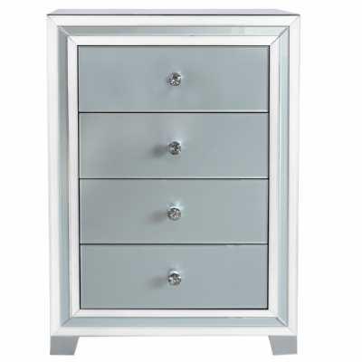 Harper Grey Glass Mirrored 4 Drawer Cabinet