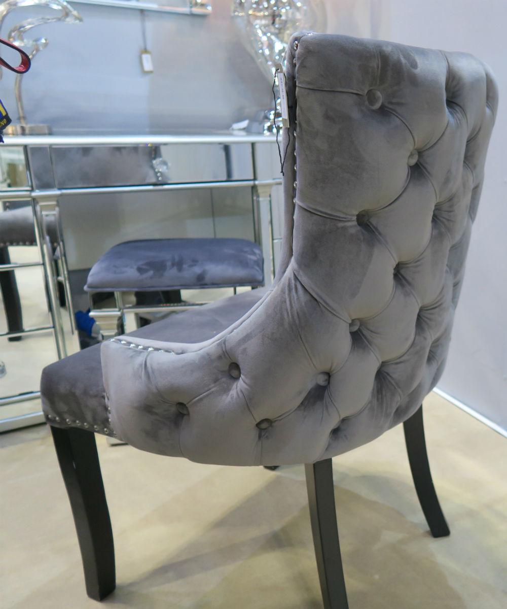 Velvet & Chrome Upholstered Dining Chair with stylish chrome legs