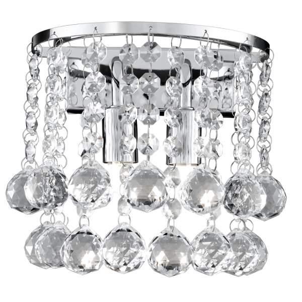 Crystal Chrome Round Wall Light