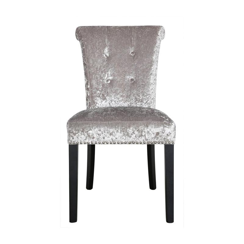 Harper Dining Chair Silver in Crushed Velvet