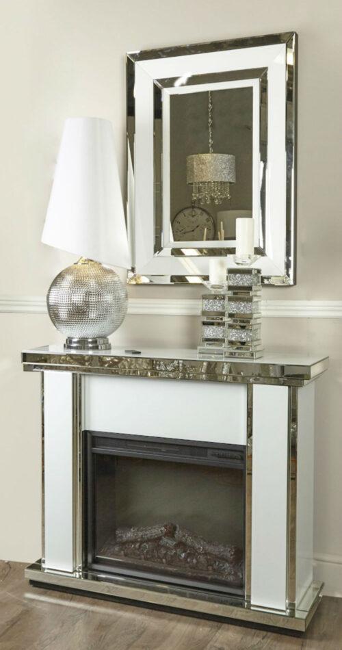 Harper White Marble Mirrored Fire Surround