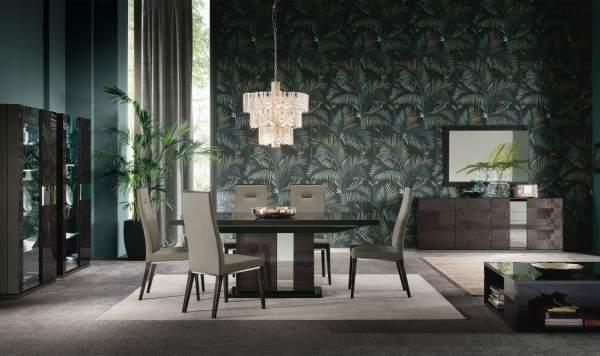 ALF Heritage Dark Velvet High Gloss Dining Table Inc 6 Chairs
