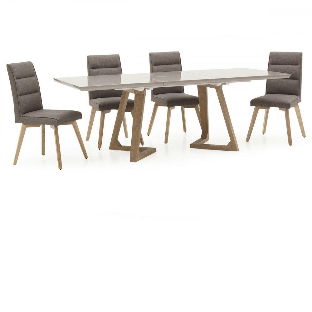 Jenoah Gloss Oak Leg Dining Table 1600 2200 INC Chairs